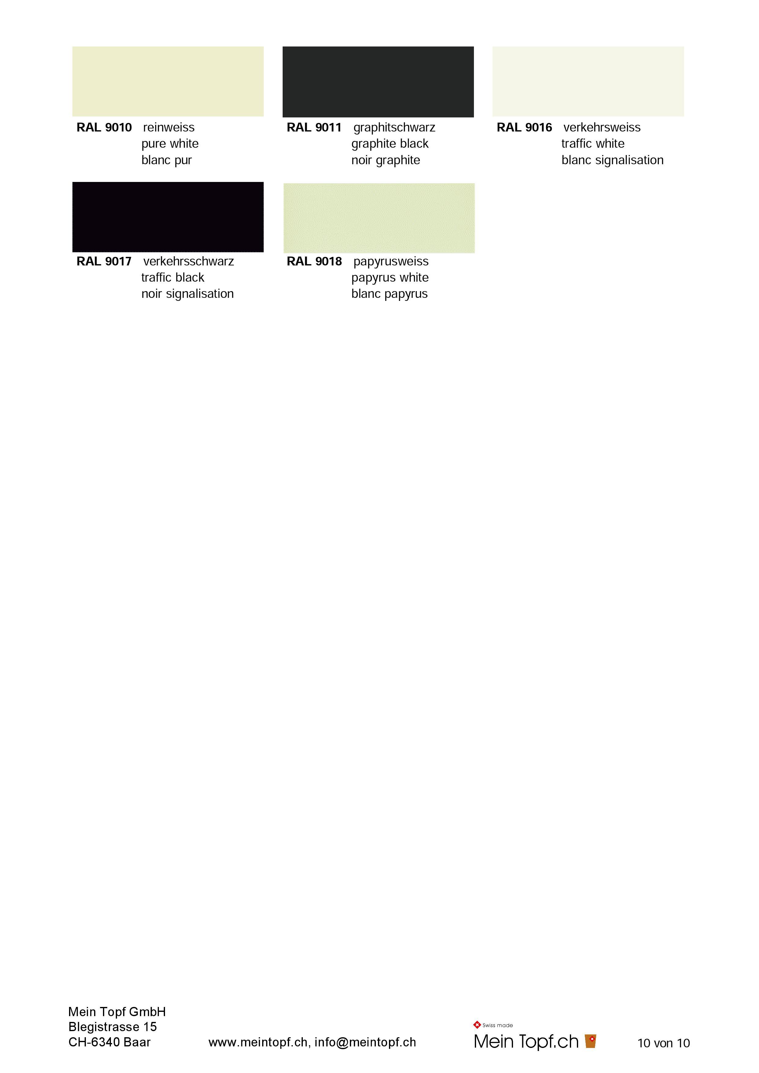 Ral 9016 Oder 9010 ral palette